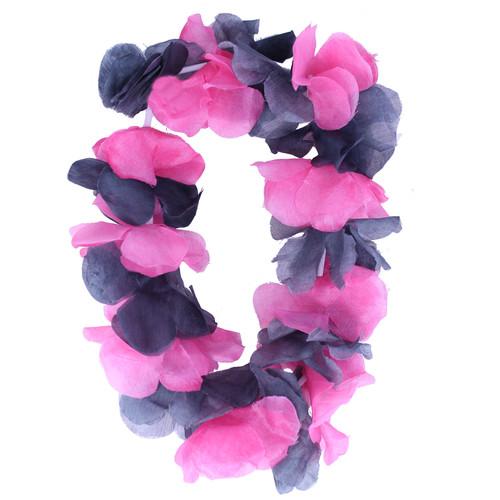 Fuschia & Black Hawaiian Flower Lei Headband