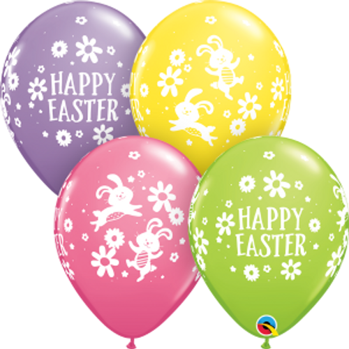 "Easter Bunnies & Daisies 11""  Latex Balloon"