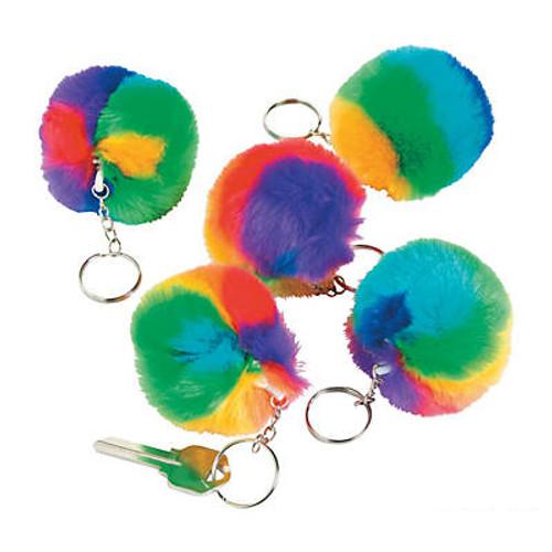 Plush Rainbow Pride Pom-Pom Keychains