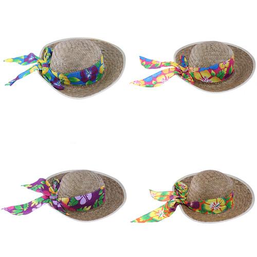 Hawaiian Ladies Straw Hat With Bandana