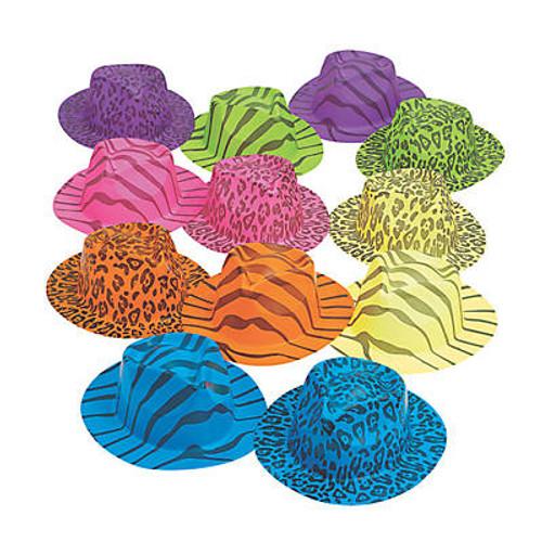 Plastic Neon Animal Print Fedora Hats