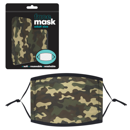 Green Camo Adult Face Mask