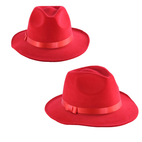 These deluxe red Fedora hats are a great accessory for any costume. These are a great quality item for the price with a flocked finish and contrasting red hat-band.