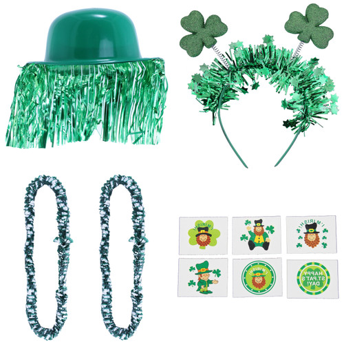 Calling all St. Patrick's Day partygoers! Jump into the St. Patrick's Day in style and ready to celebrate. The party kit is sure to show off your Irish pride in your group.