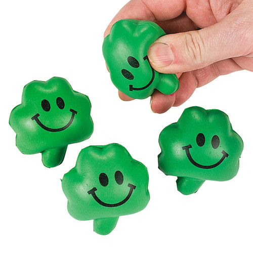 De-stress this St. Patrick's Day with these Mini Stress Toy Shamrocks. These green four leaf clovers make a great squishy toy and stressball in one! Hand these lucky shamrock toys out to co-workers or include them with party favors or gift bags.