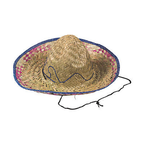 Child's Embroidered Woven Straw Sombreros