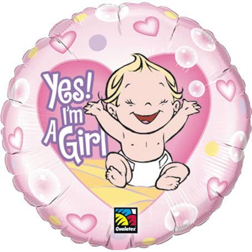 """Yes I'm A Girl Round  18"""" Foil Balloon"""