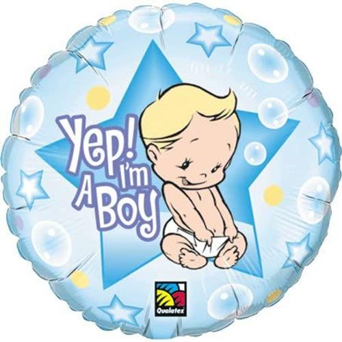 "Yep I'm A Boy Round 18"" Foil Balloon"