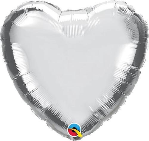 "Silver Heart 18"" Foil Balloon"