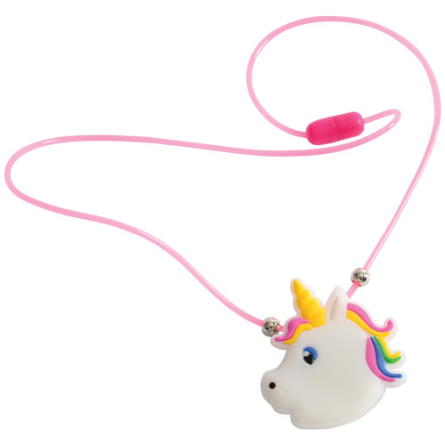 Light Up Unicorn Necklaces. No magic needed to light up these unicorn necklaces for your young party guests. Each necklace flashes 3 colors in 3 different patterns with a touch of a button, making it easy for your littlest pony fan to join in on the fun. Great for slumber parties or outdoor