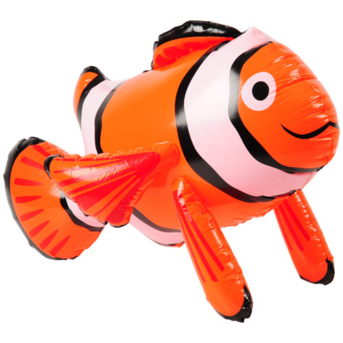 Clown Fish Inflate. Bring a little sea life into your backyard pool with this clown fish inflate. Orange & white and full of personality, this inflatable is the perfect buddy for outdoor, beachy fun. Also makes a great decoration at your next themed event!