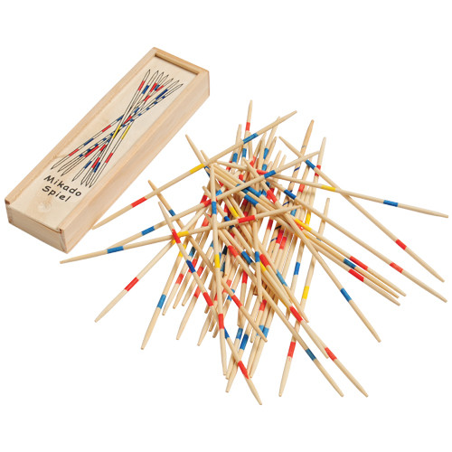 Wooden Pick Up Sticks. This classic game never gets old. Pick up sticks are great fun for a family game night. Use skill and concentration to pick up the sticks one at a time without moving the other sticks. The player that has the most sticks at the end wins. Includes 41 dull, wooden sticks for safe play.