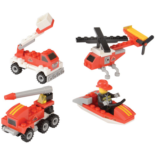 Fire Rescue Bricks. Captivate your little master builders with these Fire Rescue brick sets. Easily put their brick-building skills and imagination to the test as they construct helicopters, boats & fire trucks! In 4 assorted designs, each set comes individually packaged, making them perfect as party favors for your next event.