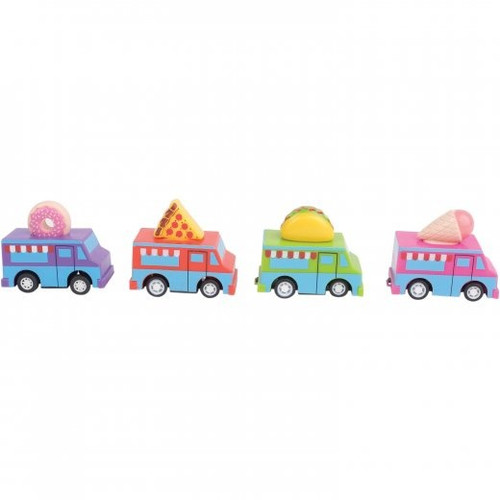 Pull Back Food Trucks. Hungry for sweet or savory? These toy food trucks have both. Ice cream food truck, donut food truck, pizza food truck and taco food truck are all included in this 12 piece assortment.