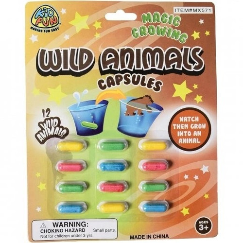 Magic Grow Wild Animal Capsules. Drop these capsules in hot or warm water. In minutes the wild animal will appear.