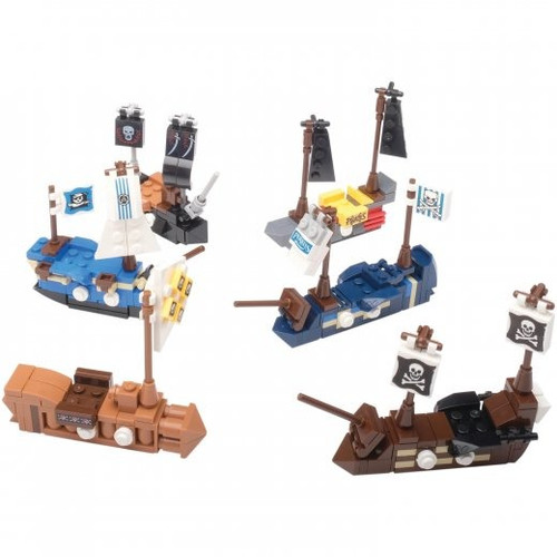 Pirate Ship Building Sets. These mini pirate ship building kits make a great party favor. Each egg assembles one of six different pirate ships. Collect them all and build a larger pirate ship.