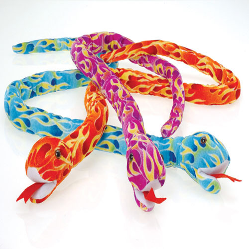 Plush Jumbo Flame Snakes. Felt plush snakes in bright flame print. Every carnival or party game needs a great prize. Plush stuffed animals are the ultimate carnival redemption prize. Kids of all ages love to win these furry creatures. So when you plan your next celebration make sure you have a prize for all your games. With our wide selection of plush toys your are sure to find the perfect gift or prize to fit your party theme