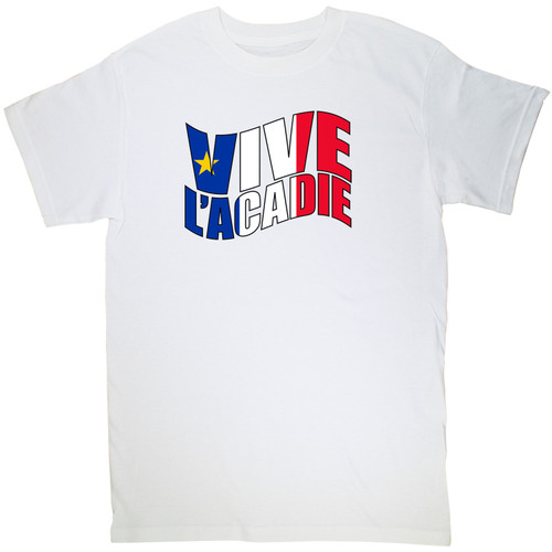 Vive l'acadie Classic Small T-Shirt. This soft and durable t-shirt is the perfect tee to sport at a Acadian Festival to show your Acadian Pride.