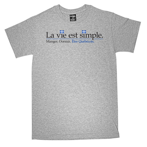 La Vie est Simple Quebecois Small T-Shirt. This soft and durable t-shirt is the perfect tee to sport at a St. Jean Baptiste Festival to show your Quebec Pride.