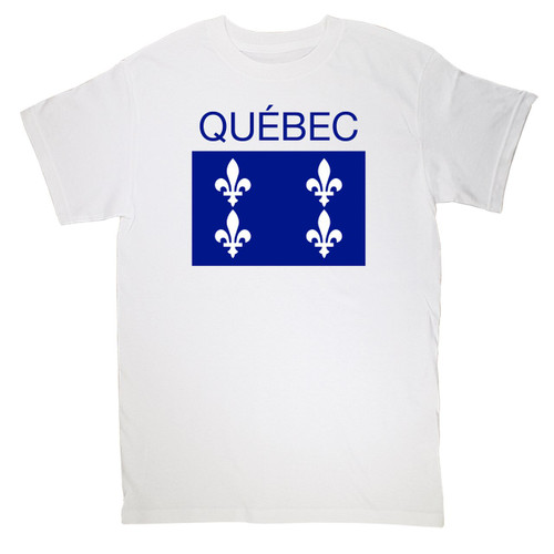 Quebec Print  Medium T-Shirt. This soft and durable t-shirt is the perfect tee to sport at a St. Jean Baptiste Festival to show your Quebec Pride.