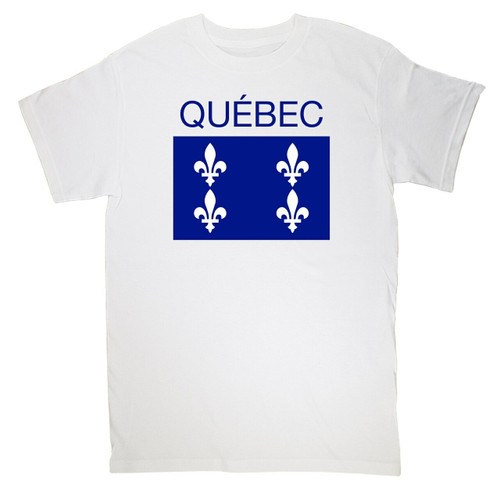 Quebec Print  Large T-Shirt. This soft and durable t-shirt is the perfect tee to sport at a St. Jean Baptiste Festival to show your Quebec Pride.