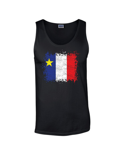 Grunge Acadian Flag Large Tank Top. This soft and durable Tank Top is the perfect top to sport at a Acadian Festival to show your Acadian Pride.
