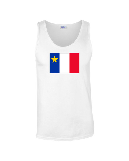 Acadian Flag - Drapeau Acadien Classic Medium Tank Top. This soft and durable Tank Top is the perfect top to sport at a Acadian Festival to show your Acadian Pride.