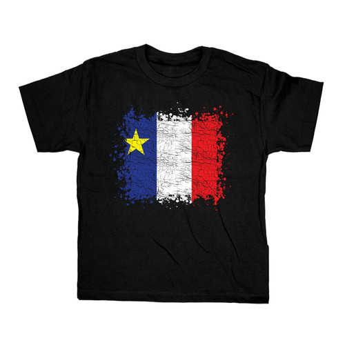 Grunge Acadian Flag Youth Large T-Shirt. This soft and durable t-shirt is the perfect tee to sport at a Acadian Festival to show your Acadian Pride.