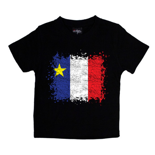 Grunge Acadian Flag Kids T-Shirt Size 2. This soft and durable t-shirt is the perfect tee to sport at a Acadian Festival to show your Acadian Pride.