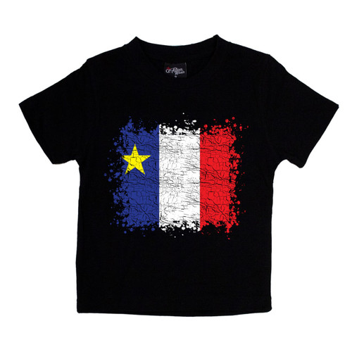 Grunge Acadian Flag Kids T-Shirt Size 4. This soft and durable t-shirt is the perfect tee to sport at a Acadian Festival to show your Acadian Pride.