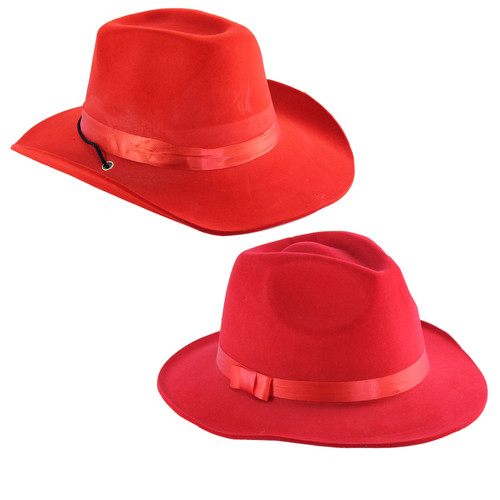 These deluxe red Fedora and Cowboy hats are a great accessory for any costume. These are a great quality item for the price with a flocked finish and contrasting red hat-band.