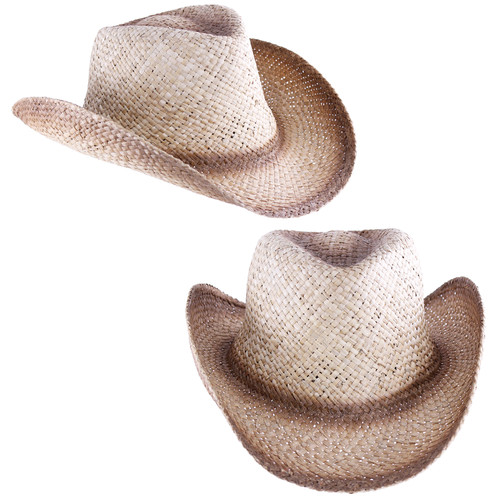 Giddy-up, save a horse, and ride a cowboy! These are a great light 'tea stained' hat with sweat band. Everyday use around town and the golf course, and awesome for Halloween and country-western themes!