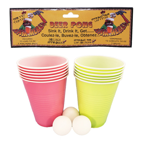 Beer Pong Game Set -Green & Pink