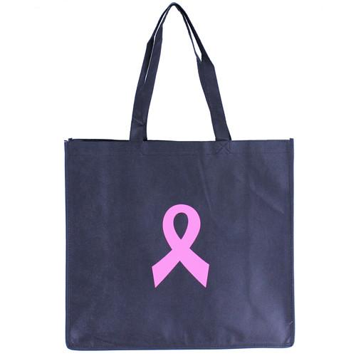 Pink Ribbon Black Nonwoven  Tote Bags