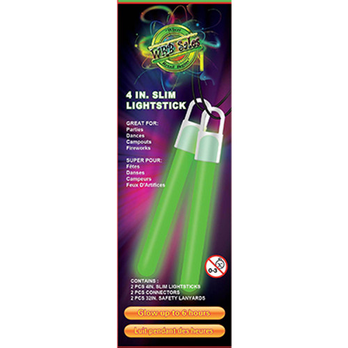 """Green Glow Stick 4"""" 2 PK"""
