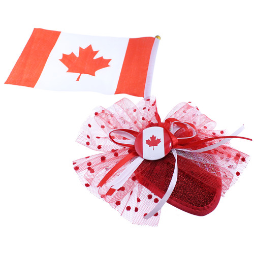 Canada Fascinator With Bow & Flag