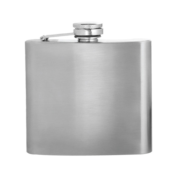 Stainless steel 5 oz. hip flask with hinged screw on top.