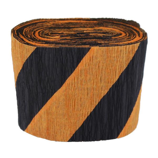 Black & Orange Crepe Streamer - 30 Ft