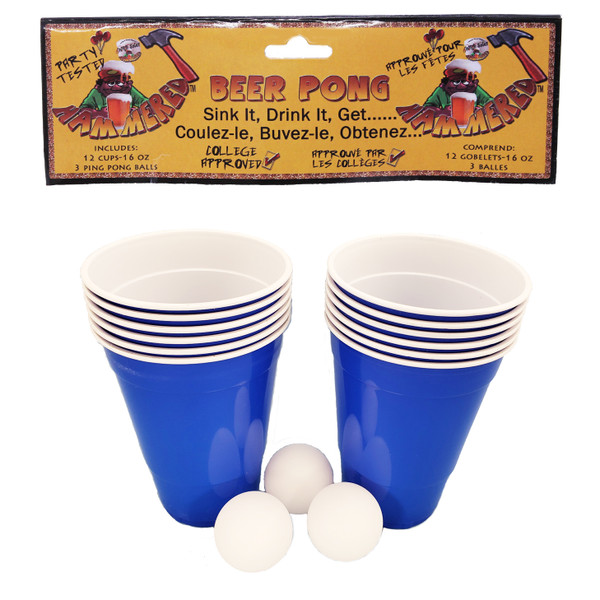Blue Beer Pong Game Set - Each set comes with 12 16oz cups and 3 balls.