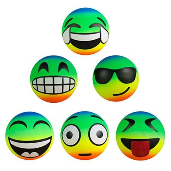 "Inflatable Rainbow Emoji  Balls 6"""