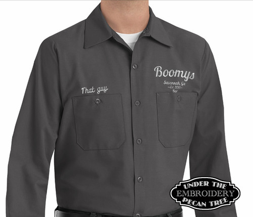 EMBROIDERED MENS LONG SLEEVE INDUSTRIAL RED KAP WORK SHIRT
