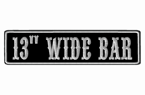 "CREATE YOUR OWN 13"" WIDE BAR PATCH WITH BIKER FONT"