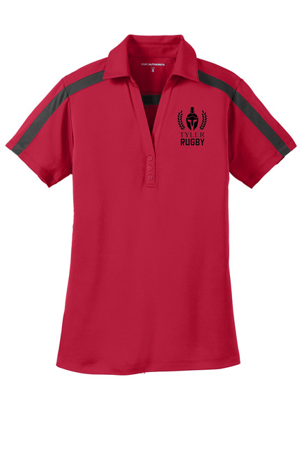 Ladies Silk Touch™ Performance Colorblock Stripe Polo. L547 Red/ Black
