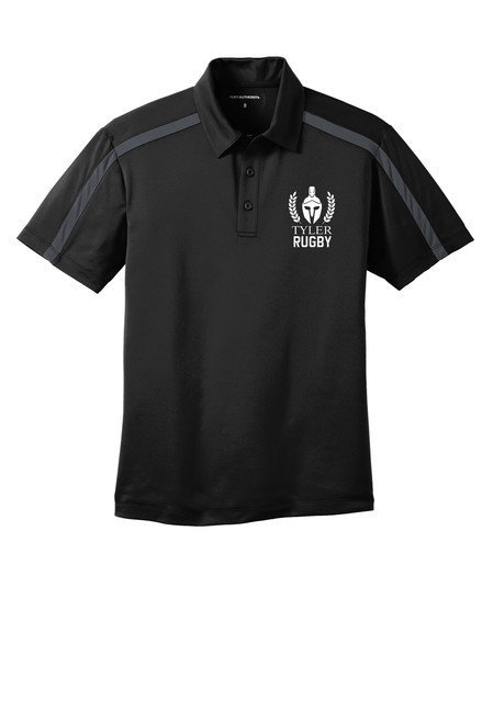 Mens Performance Colorblock Stripe Polo. K547 Black/ Steel Grey