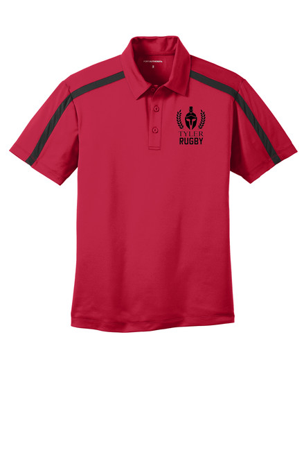 Mens Performance Colorblock Stripe Polo. K547 Red/ Black