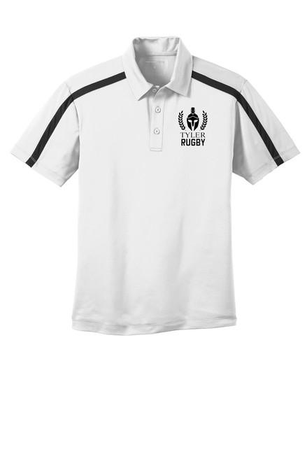 Mens Performance Colorblock Stripe Polo. K547 White/ Black