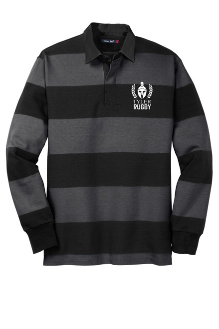 Mens Long Sleeve Rugby Polo. ST300 Black/ Graphite Grey