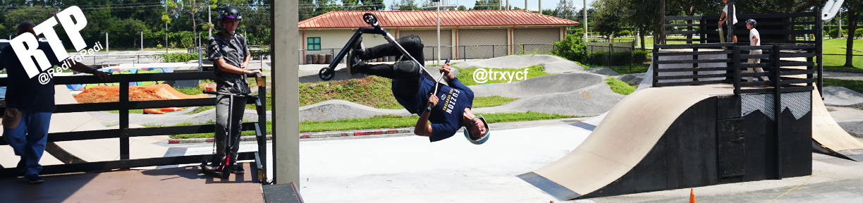 Fuzion Pro Scooter Rider Tory Fields in Boca Raton, Florida at Drop In Action Sports Complex.