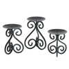 Trio of Scrollwork Iron Candle Stands
