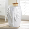 Elephant White Ceramic Decorative Stool